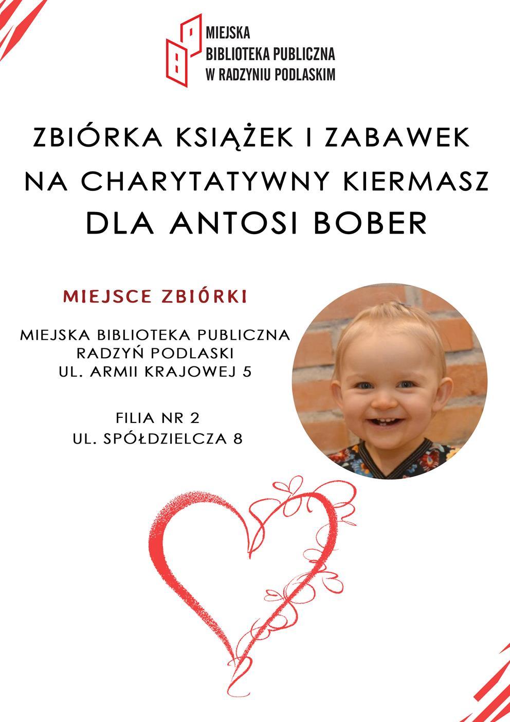 Zbiórka książek i zabawek  na charytatywny kiermasz dla Antosi Bober