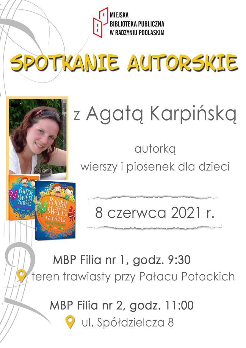 Spotkanie autorskie z Agatą Karpińską